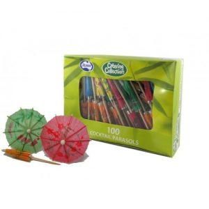Alpen Cocktail Parasols Assorted Colours Box 100
