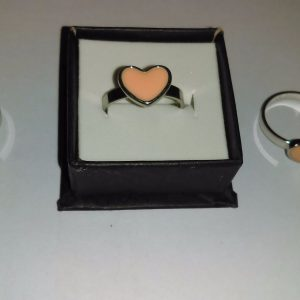 Metal Pink Love Heart Ring