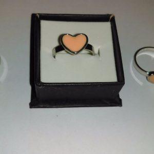 Metal Pink Love Heart Ring