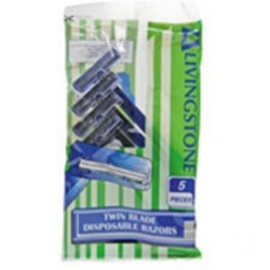LIVINGSTONE TWIN BLADE DISPOSABLE EAZORS WITH HANDLE PK5