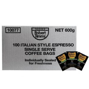 ROBERT TIMMS ITALIAN ESPRESSO COFFEE BAGS CTN OF 100