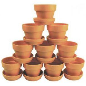 Plastic Terracotta Pots & Saucers Pk10