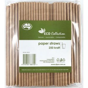 Alpen Eco Collection Paper Straws Kraft 205x6mm Bag 250 Ctn of 10
