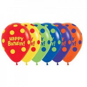 Alpen Polka Dot Birthday Balloons 30cm Bag of 50