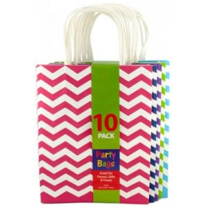 Chevron Assorted Coloured Kraft Gift Party Bags Pk10