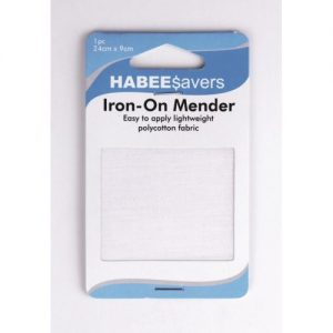 Iron On Menders Light Weight 24x9cm White Pk1 Ctn of 5