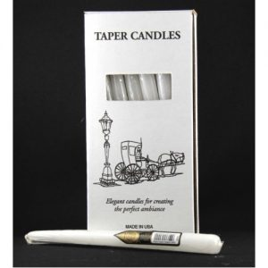 Taper Candles 250mm 10inch White Wrapped Box 12